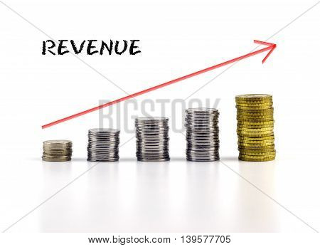 Conceptual Image. Stacks Of Coins Against White Background With Red Arrow And Revenue Words.