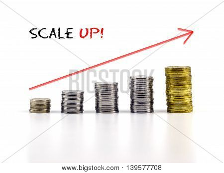 Conceptual Image. Stacks Of Coins Against White Background With Red Arrow And Scale Up Words.