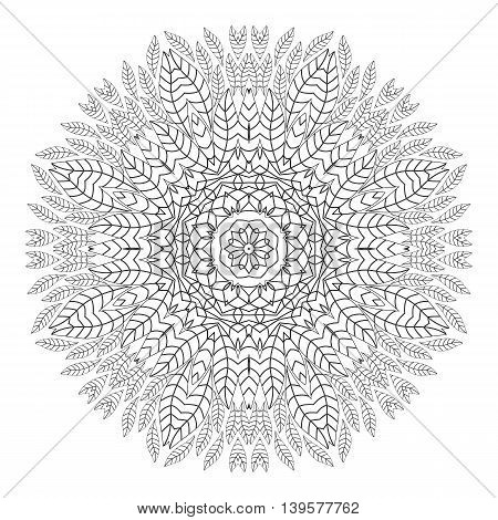 Mandala. Coloring page. Ethnicity floral round ornament. Circular ornament in ethnic style. Floral elements. Monochrome oriental pattern. Arabic, Islamic, Indian,motifs. Coloring Book.