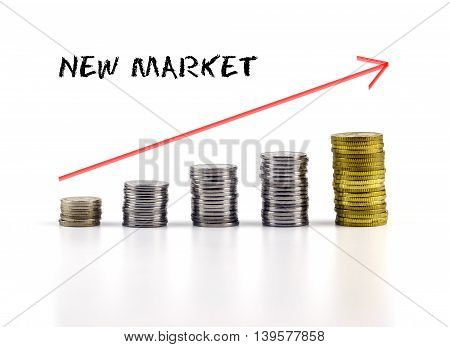 Conceptual Image. Stacks Of Coins Against White Background With Red Arrow And New Market Words.