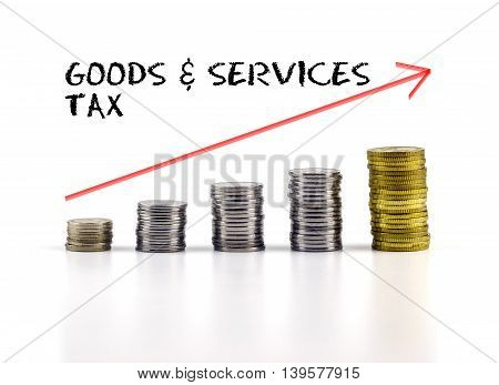 Conceptual Image. Stacks Of Coins Against White Background With Red Arrow And Goods & Services Tax W