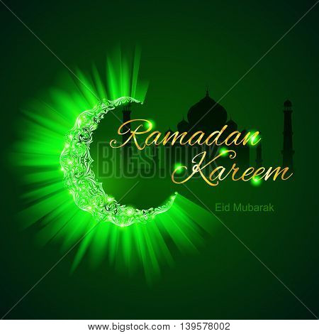 Glowing ornate crescent with bright flare in brilliant emerald shades. Greeting card of holy Muslim month Ramadan