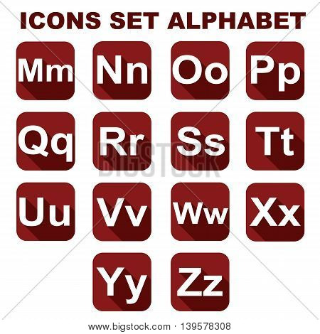 Icons set alphabet on the red background. Vector illustration