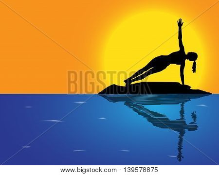 Yoga Side Plank Pose Sea Background