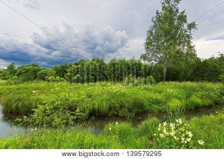 Green field with river under gloomy sky
