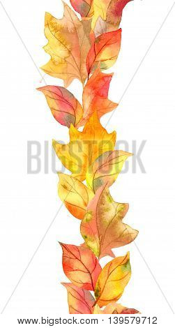 Autumn leaves and berries. Repeating autumn frame. Watercolor strip