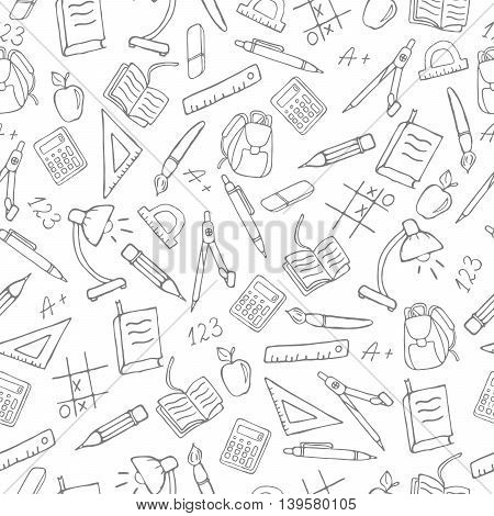 Seamless pattern on the theme of the school a simple hand-drawn contour icons on white background, vector
