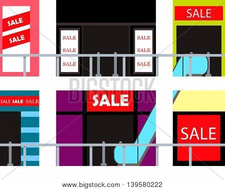 Inside shopping mall. Seasonal sale in the store. Vector illustration