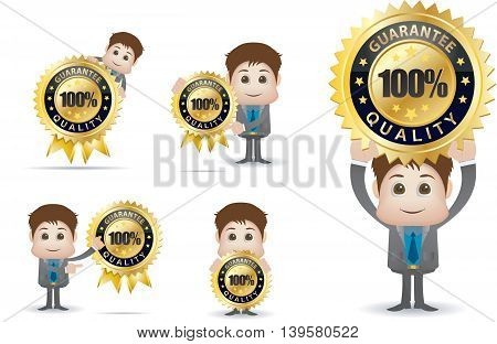Businessman character holding gold guarantee quality badge