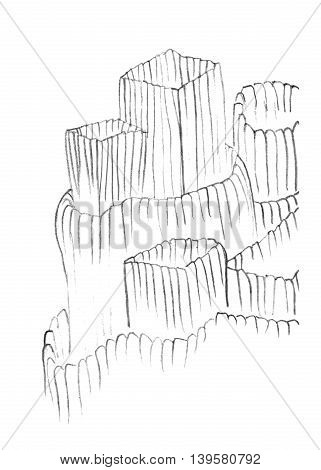 Abstract line sketch pencil drawing of a fortress-like structure