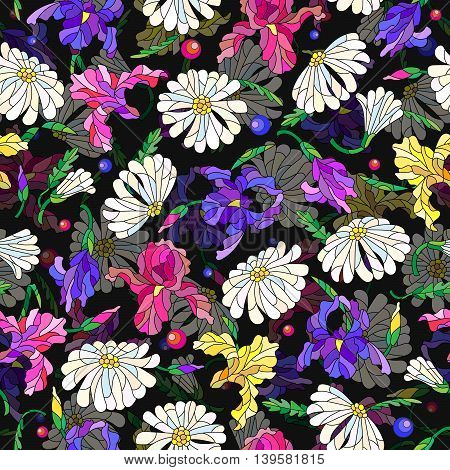 Seamless pattern with spring flowers in stained glass style flowers buds and leaves of daisies and irises on a dark background, vector