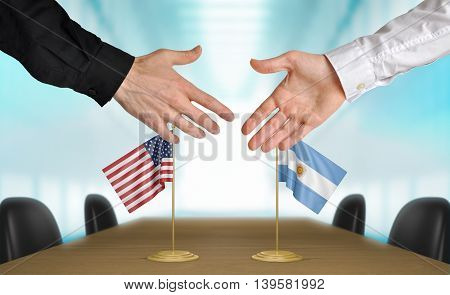United States and Argentina diplomats shaking hands to agree deal, part 3D rendering