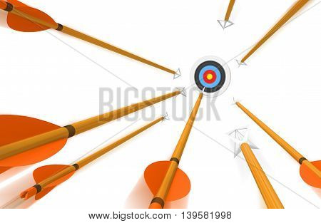 Volley of arrows hurling toward an archery target in fast blurred motion, 3D rendering