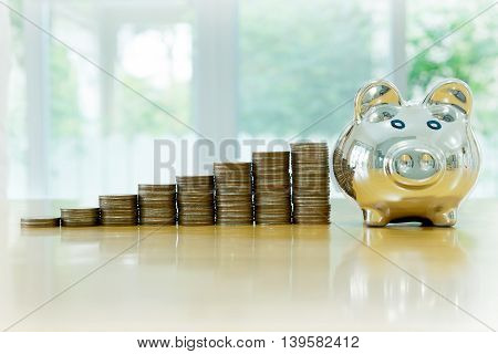box saving piggy with coins isolated, money, currency