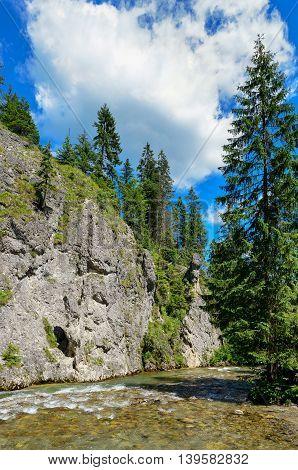 View of mountain river, Tatra mountains, Poland.