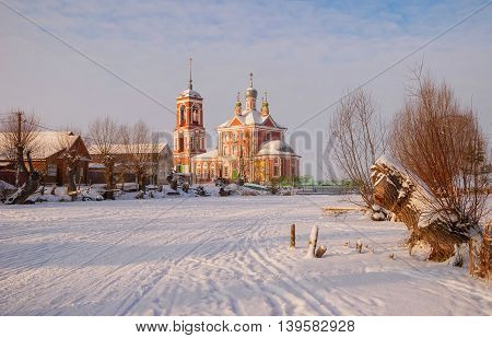 Gold ring of Russia. Pereslavl Zaleski in winter at sunset.