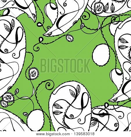 Bright seamless pattern in green, white and black colors. Curly lines, cucumbers. Vector eps 10. For prints, designs, textile.