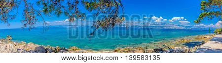 Colourful landscape of Croatian coast, capture on Island of Brac, panorama view.