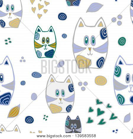 stock vector abstract seamless patternt with cat. doodle cartoon design