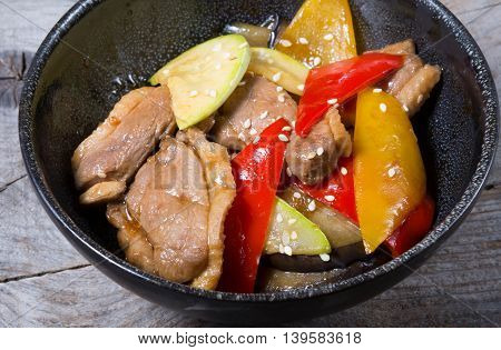 Duck meat salad with vegetables and fruits