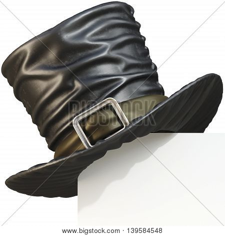 Page corner with black top hat. isolated on white background. 3D illustration.