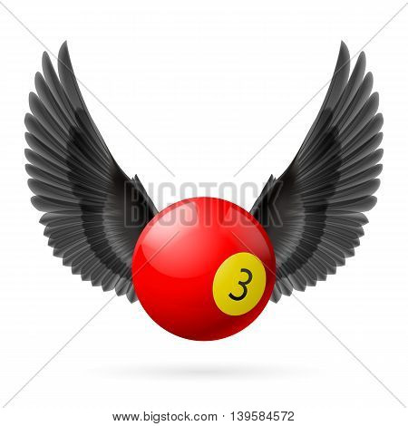 Black wings with red billiard ball on white background