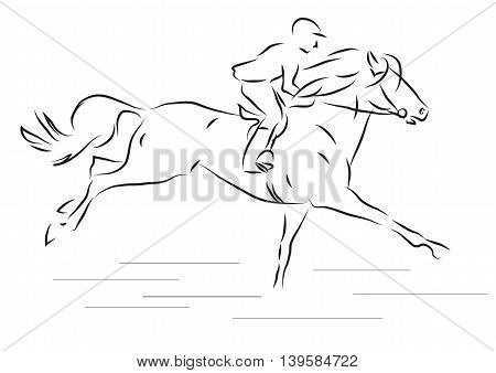 vector illustration of sketch horseman galloping on horse