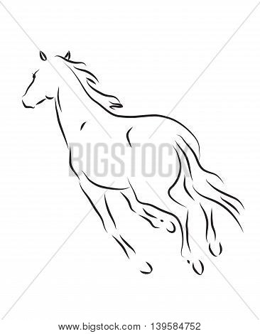 silhouette of galloping horse - vector illustration