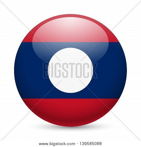 A round badge in the colours of Laos flag.