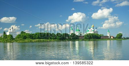 View of Spaso-Yakovlevsky Monastery in Rostov from Nero's lake, Russia