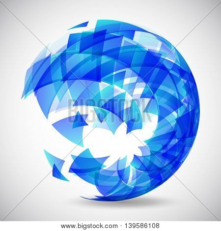 Abstract futuristic blue sphere made of triangles. Vector illustration.