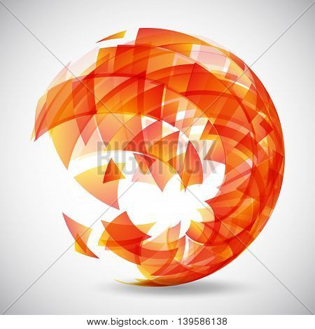 Abstract futuristic red sphere made of triangles. Vector illustration.