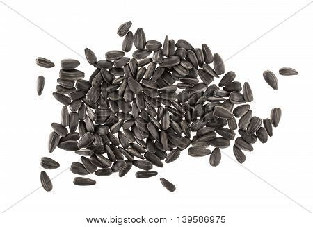 Heap of black sunflower seeds isolated on white background with clipping path