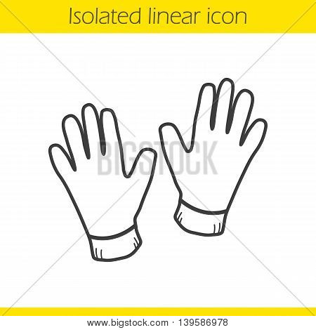 Gloves linear icon. Thin line illustration. Leather gloves contour symbol. Vector isolated outline drawing