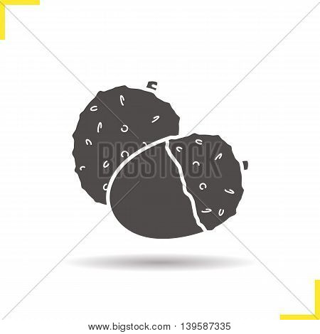 Lichee icon. Drop shadow silhouette symbol. Litchi fruit vector isolated illustration