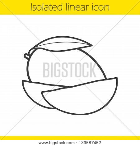 Mango linear icon. Thin line illustration. Mango slices contour symbol. Vector isolated outline drawing
