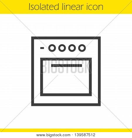 Stove linear icon. Gas cooker thin line illustration. Oven contour symbol. Vector isolated outline drawing