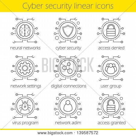 Cyber security linear icons set. Digital technology and cloud computing concepts. Neural networks, access, settings, digital connections, admin, user, virus. Thin line. Isolated vector illustrations