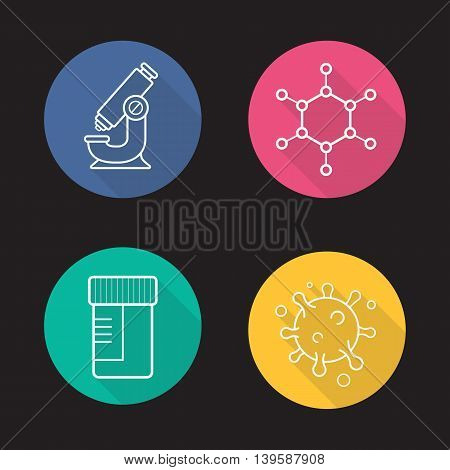 Science laboratory flat linear long shadow icons set. Microscope, molecule and virus structure, medical tests jar. Vector line symbols