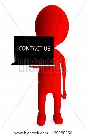 3D Red Character Holding Laptop And Its Screen Showing Contact Us Text Concept