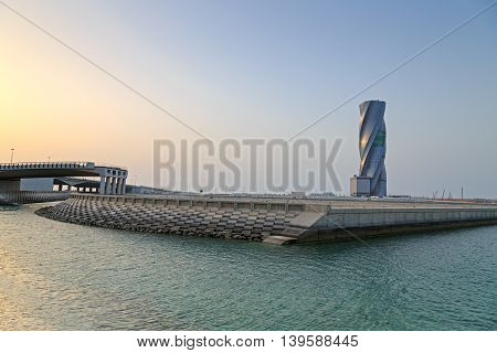 MANAMA, BAHRAIN - MAY 14, 2016: View of the Seafront with The United Tower Building in the capital city.