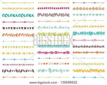 Big set of 39 abstract seamless brushes Aztec boho style. Tribal borders.