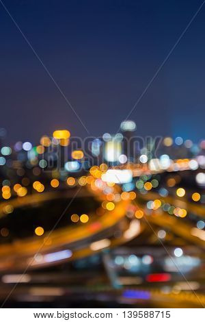 Abstract blurred lights highway interchanged at twilight