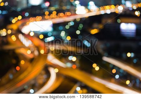 Abstract blurred lights background, Aerial view twilight, city road interchanged