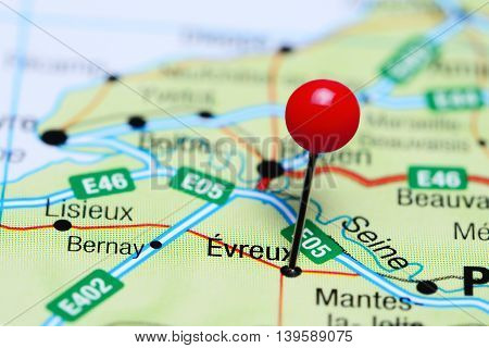 Evreux pinned on a map of France