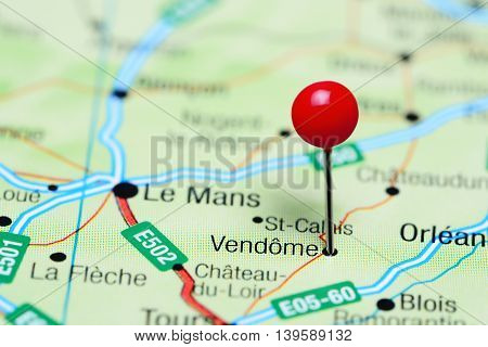 Vendome pinned on a map of France