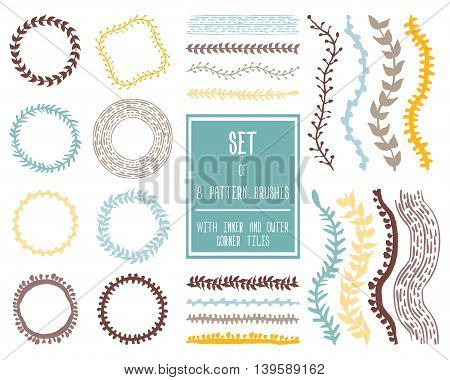 Hand drawn decorative vector brushes with inner and outer corner tiles. Dividers, borders, ornaments. Ink illustration.