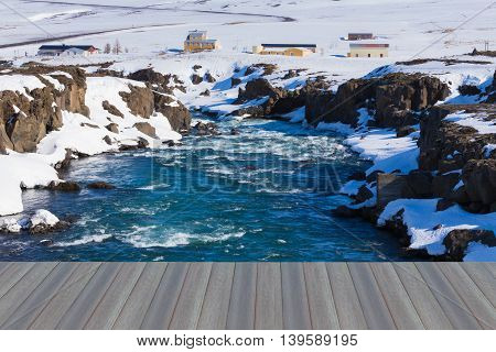 Opening wooden floor, Iceland waterfall natural landscape, Godafoss