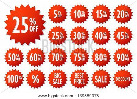 Sale vector label icons. Discount stickers set for shop, retail, promotion. Best price, big sale, 25% off, special offer, discount icons.