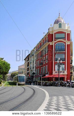Tramway in Nice on the main Massena Sqaure